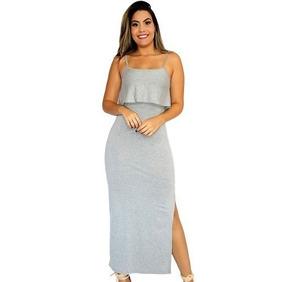 50fa56ff67 Vestido Longo Fenda Babado Listrado - Vestidos Casuais Longos Femininas no  Mercado Livre Brasil