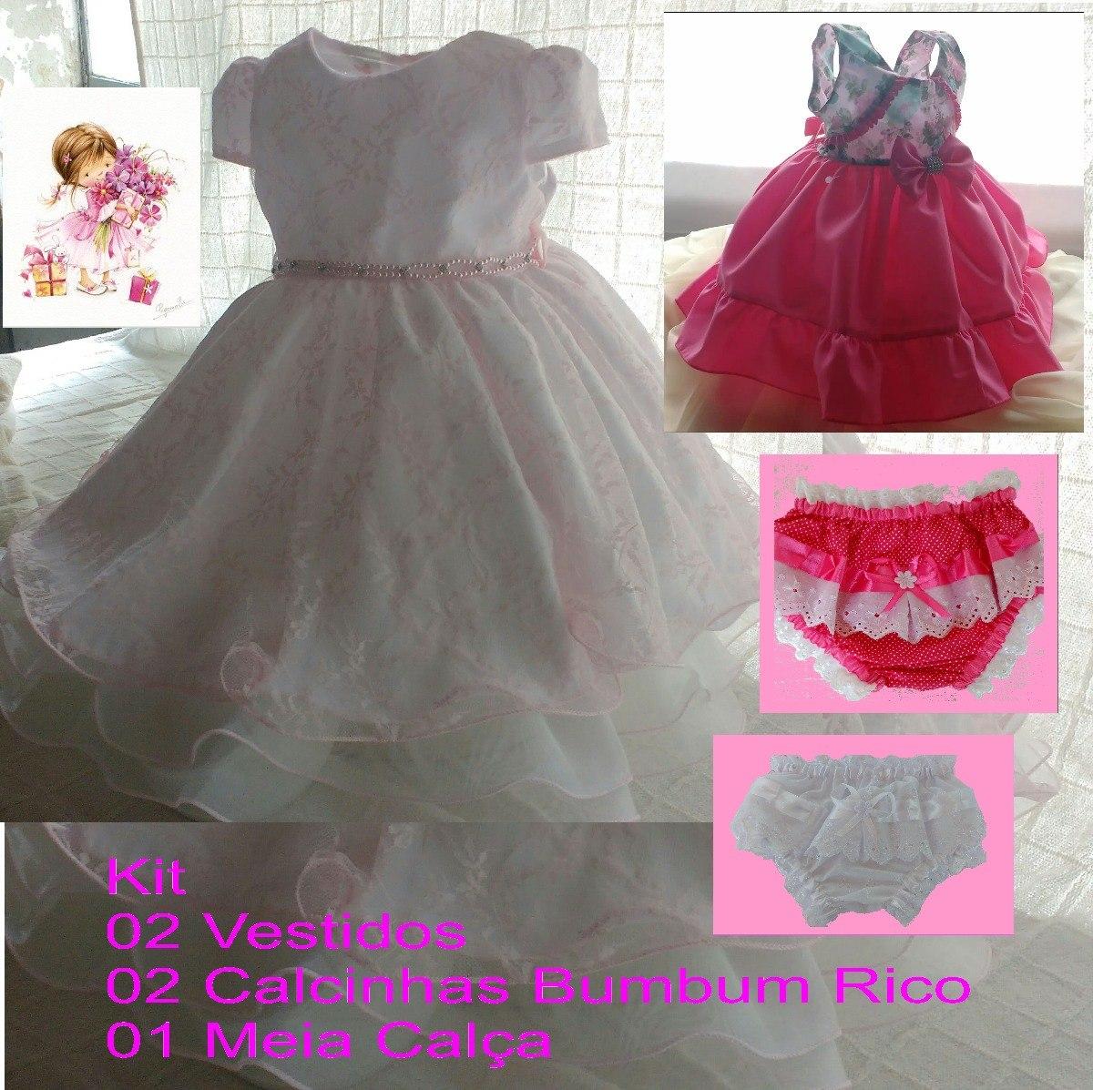 ba8fc98ad kit 2 vestidos + 2 calcinhas + 1 meia calça infantil festa. Carregando zoom.