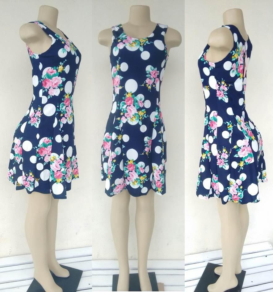 4b26a9daaa kit 2 vestidos básico floral estampado sem manga verão. Carregando zoom.
