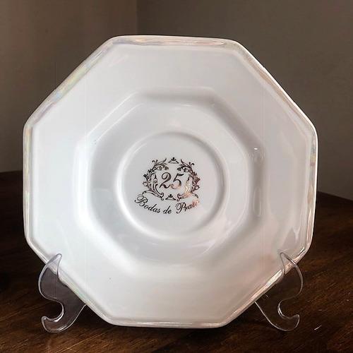 kit 2 xícaras porcelana oitavada bodas de prata