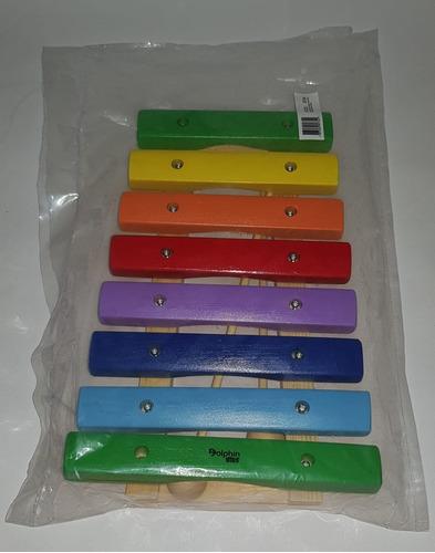 kit 2 xilofone infantil de 8 notas dolphin madeira colorido
