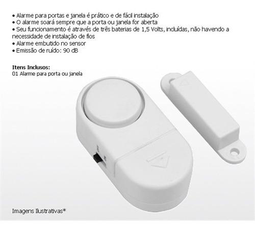 kit 20 alarmes contra invasão sonoro porta ou janela sem fio