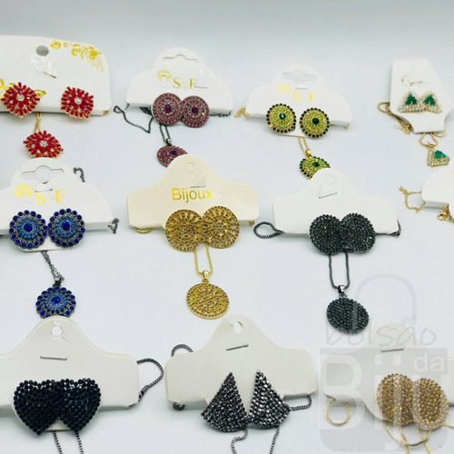 kit 20 atacado bijuteria conjunto luxo gargantilha brinco
