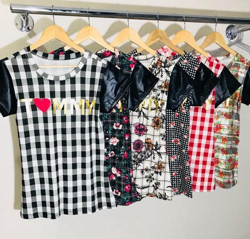 kit 20 blusa t-shirt estampada choker flor blogueira atacado