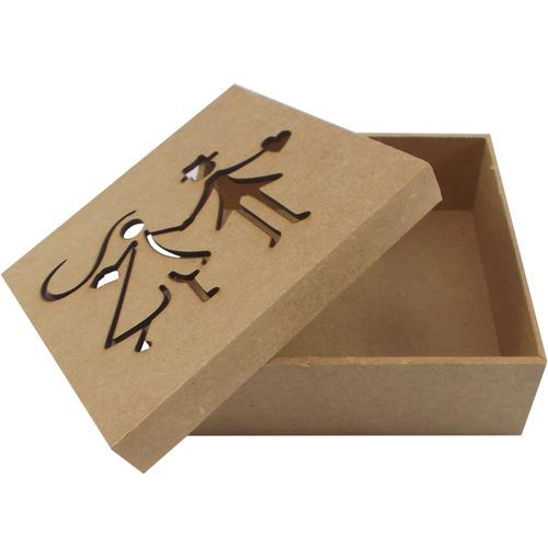 kit 20 caixa convite noivinhos megatudo 14x14x5 em mdf
