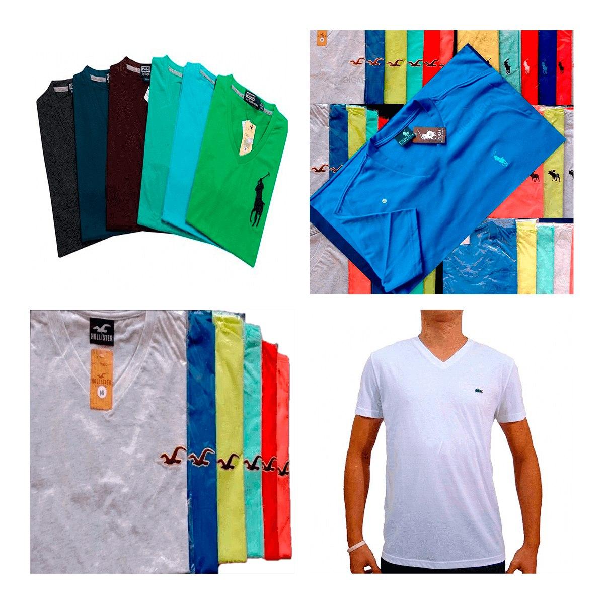 Kit 20 Camisa Camiseta Masculina De Marca Gola V Top - R  187 82ae54f1f1d31
