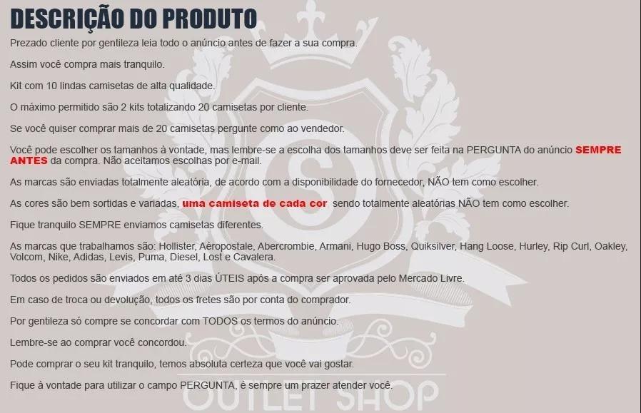 Kit 20 Camiseta Camisa Blusa Masculina Marca Atacado Revenda - R ... 36309f982e