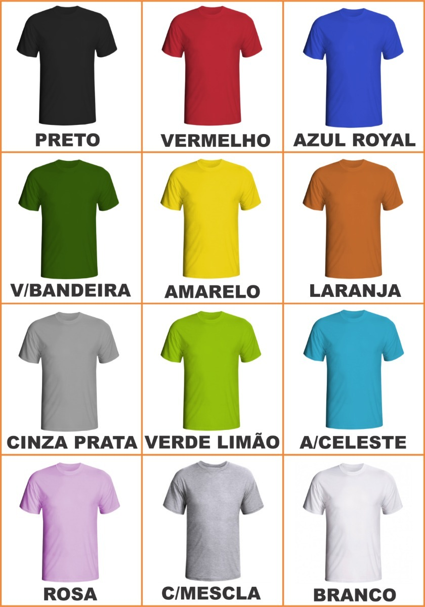Kit 20 Camisetas 100% Poliéster-cores Variadas (sublimação) - R  271 ... 59cd5e46ef1