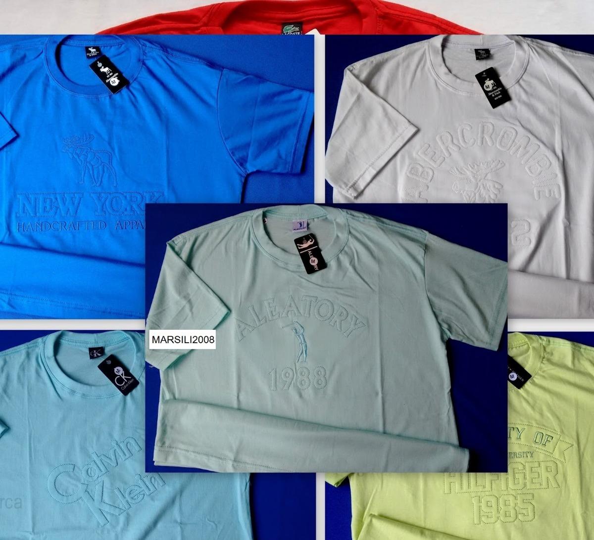 Kit 20 Camisetas Com Estampas Alto Relevo Grifes Famosas - R  449 5be430d7add