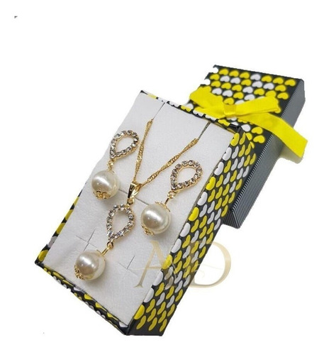 kit 20 colares e brincos folheados + caixinha luxo atacado