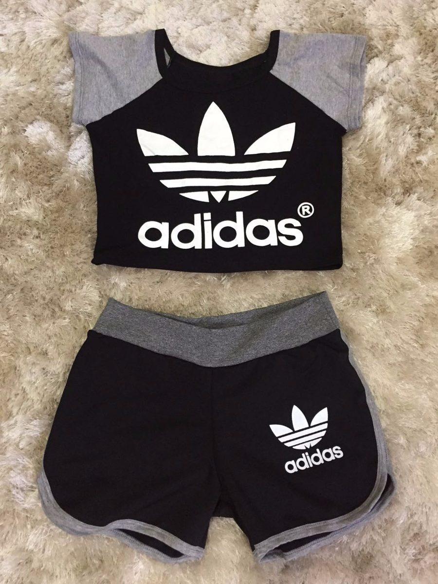 conjunto cropped adidas e shorts moletom