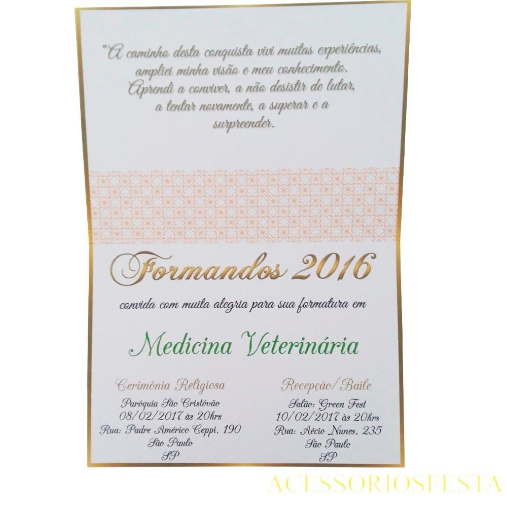 Kit 20 Convite Formatura Medicina Veterinária Barato Lindo