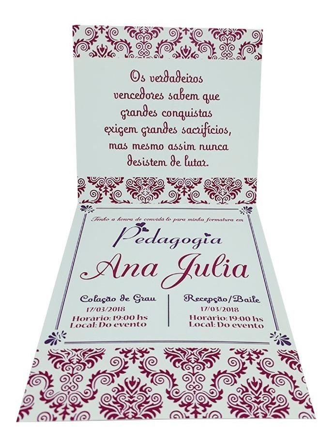 Kit 20 Convites De Formatura Pedagogia Coruja Lilás