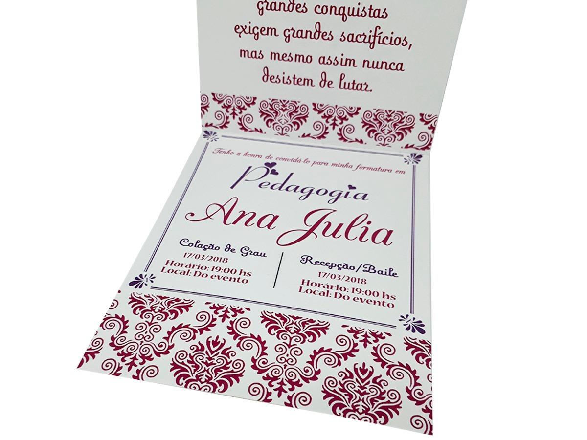 Kit 20 Convites De Formatura Pedagogia Coruja Lilás R 3864