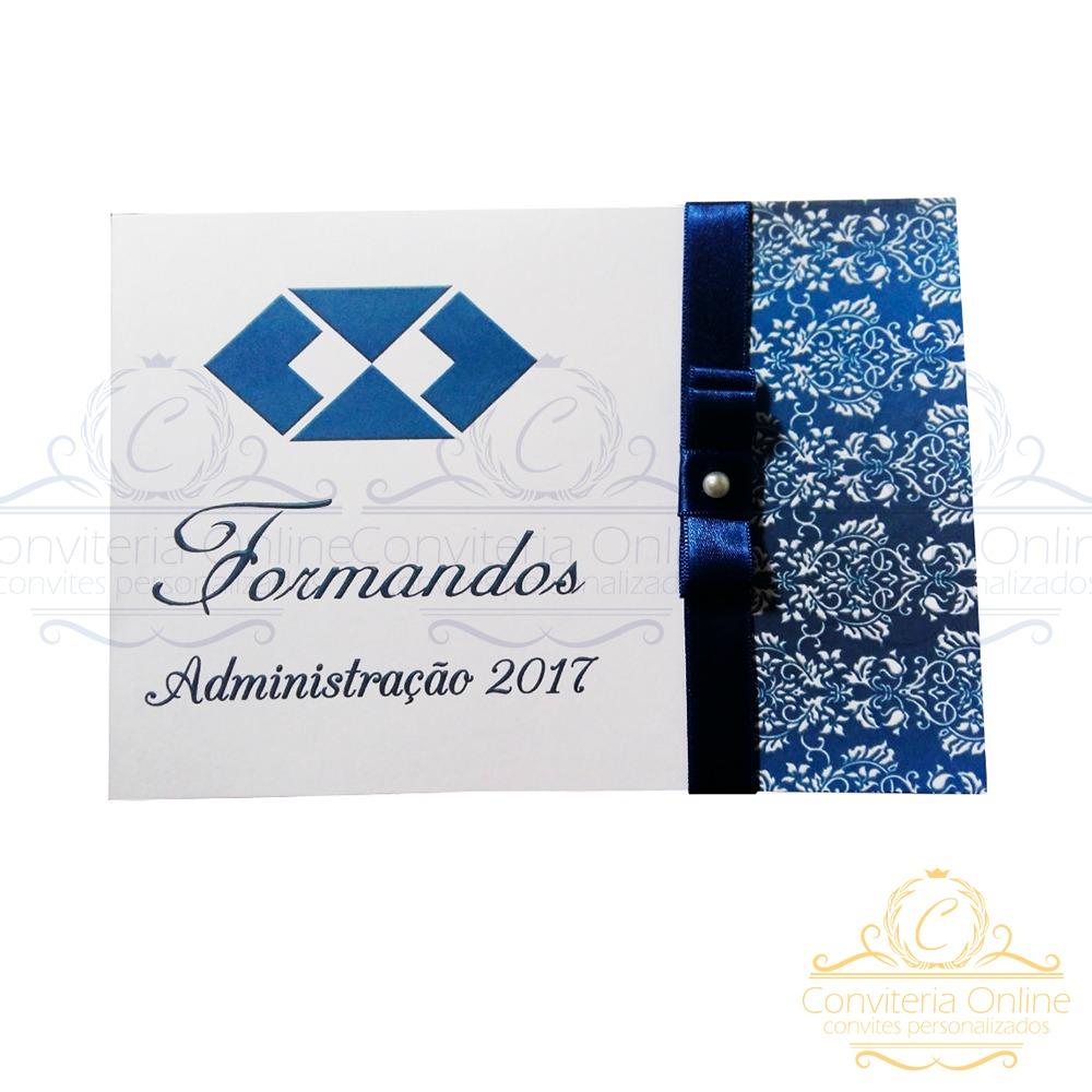 Kit 20 Convites Formatura Administração Azul Qualquer Curso R 50