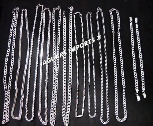 kit 20 correntes masculinas aço inox  + 2 pulseiras atacado