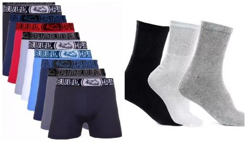 kit 20 cueca box boxer microfibra revenda + 12 par de meias