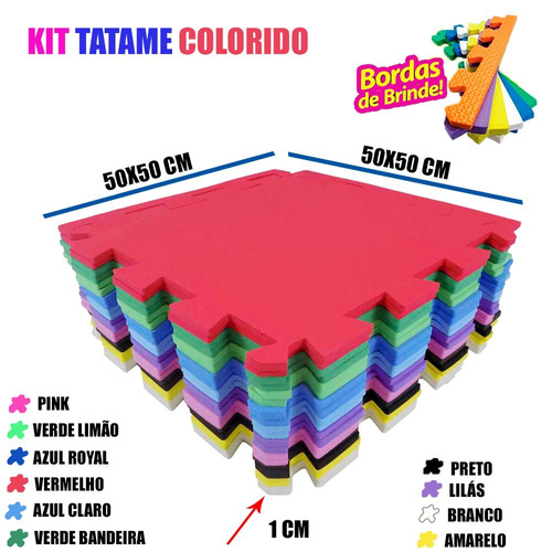 kit 20 eva tatames infantil tapetinho emborrachado 50x50cm d