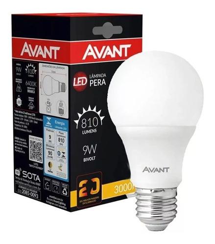 kit 20 lampada led bulbo 9w soquete e27 bivolt avant