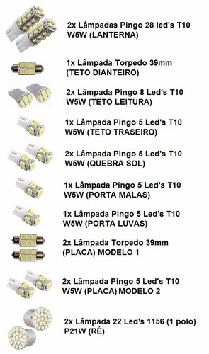 kit 20 lampadas brancas farol + leds smd ford focus 2004...