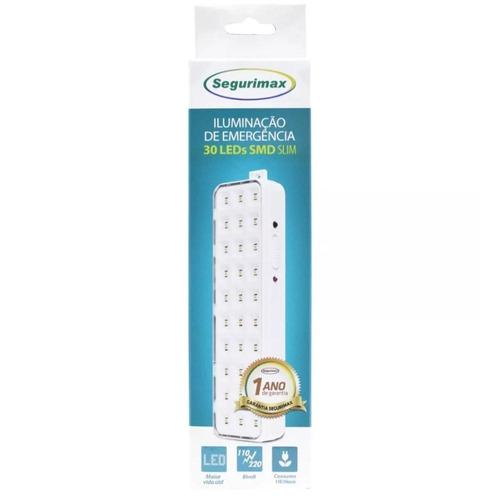 kit 20 luminária segurimax emergência 30 leds slim bivolt