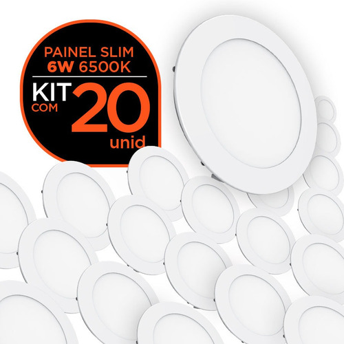 kit 20 paineis led slim embutir 6w branca redondo - b+d