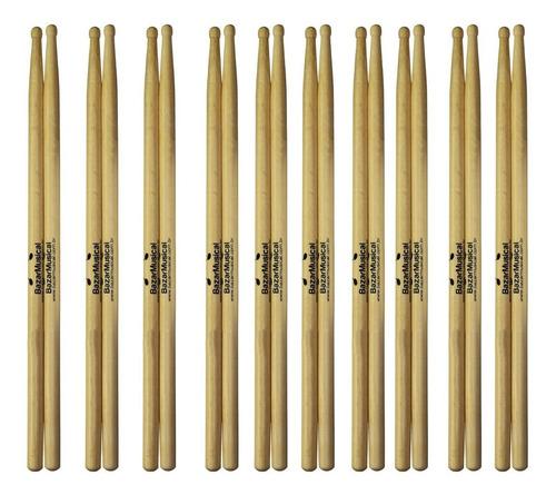 kit 20 pares de baqueta bateria 5a ponta de madeira barata