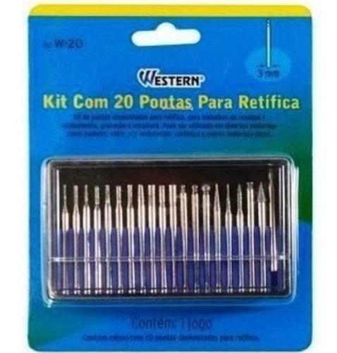 kit 20 pontas diamantadas micro-retifica w-20 western