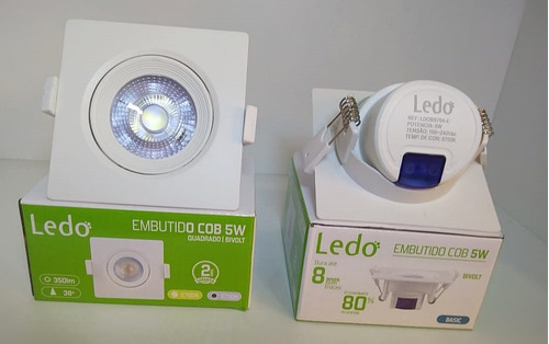 kit 20 spot 5w quadrado branco frio led 5700k - ledo brasil