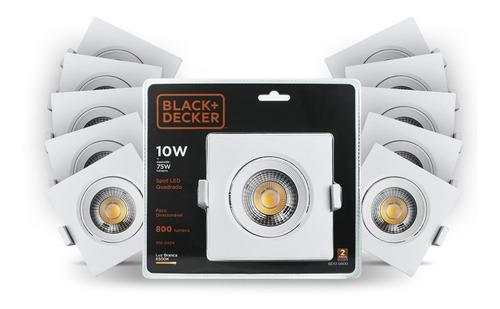 kit 20 spot led 10w branca quadrado - black + decker