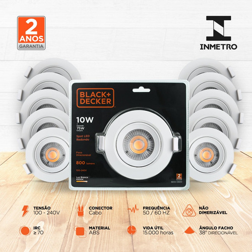 kit 20 spot led 10w branca redondo - black + decker