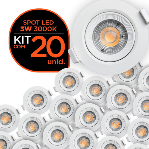 kit 20 spot led 3w 3000k redondo - black + decker