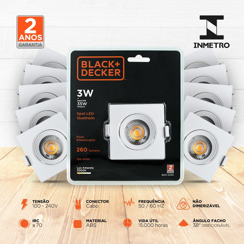 kit 20 spot led 3w amarela quadrado - black + decker