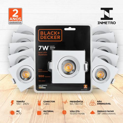 kit 20 spot led 7w 3000k quadrado - black + decker