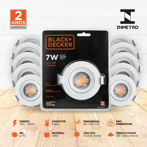 kit 20 spot led 7w branca redondo - black + decker