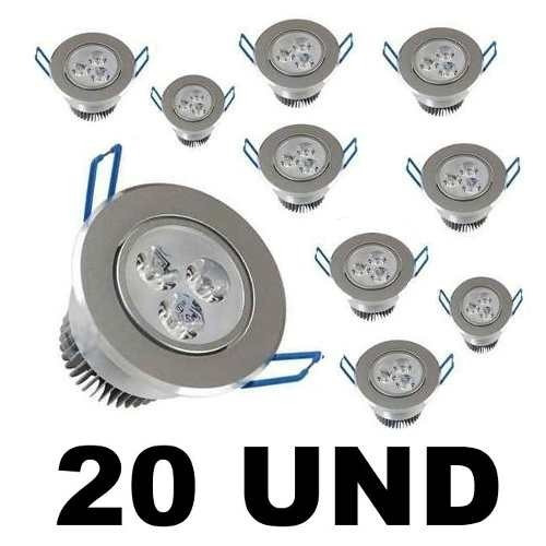 kit 20 spot super led 3w lampada direcionável pronta entrega