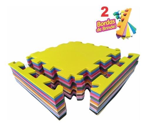 kit 20 tapetes infantil emborrachado 50x50 10mm tatame eva