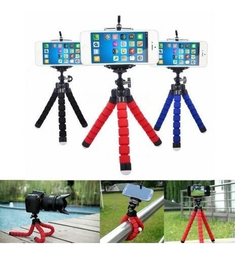 kit 20 un. tripé flexível mini+suporte p/ celular atacado