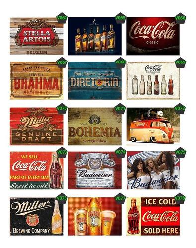 kit 20 unidades adesivo bebidas vintage bar chopp 30x20cm