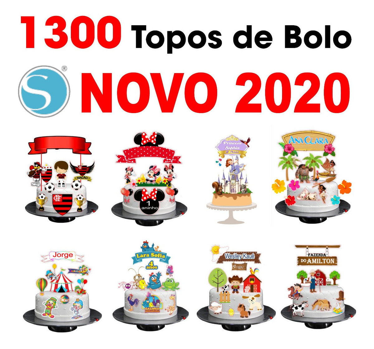 Kit 2020 Topo De Bolo De 1300 Arquivos De Corte Silhouette R