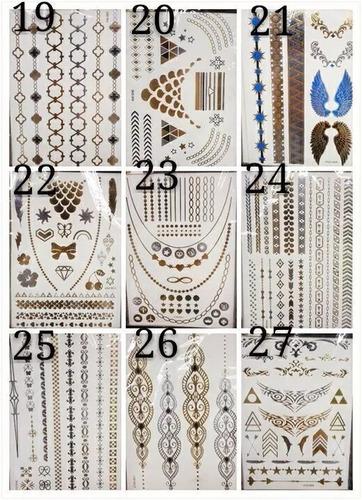 kit 24 cartelas flash tattoos gold tatuagem temporaria