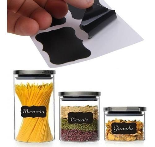 kit 24 etiquetas rótulo vidro tempero pote cozinha giz