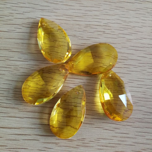 kit 24 gotas amêndoas cristal amarelo ambar 50mm para bijuterias, lustres e luminárias