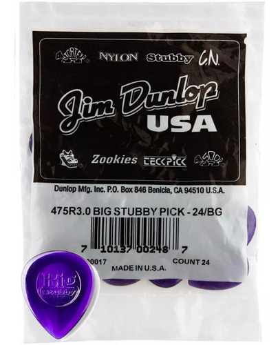 kit 24 palheta big stubby 3mm dunlop original 475r3.0