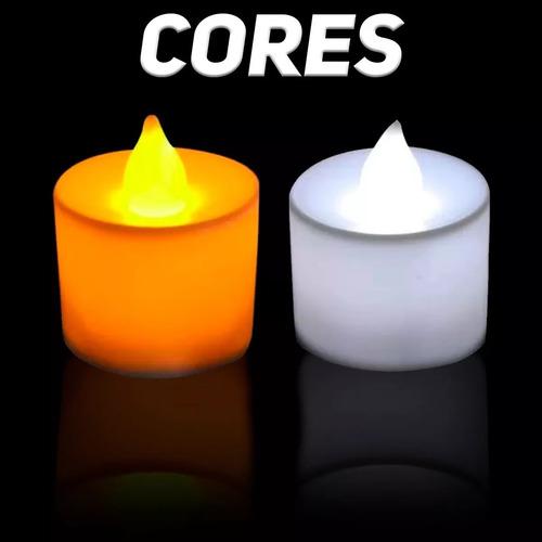 kit 24 velas led branco quente decoração c/ bateria testada