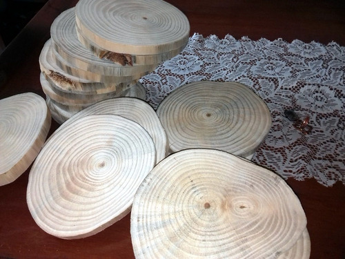 kit 25 bolachas madeira tronco casamento bandeja tábua 16cm