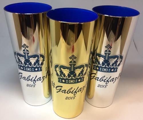 kit 25 copos long drink metalizados coloridos personalizados