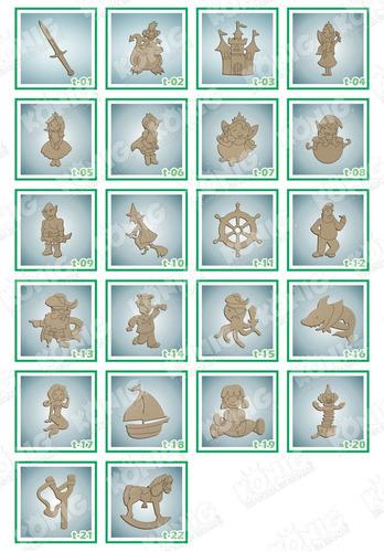 kit 25 figuras mdf 15cm temática, princesa, osos, piratas