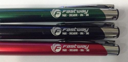 kit 250 canetas metal personalizadas brinde gravação a laser