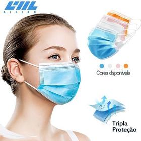 Kit 250 Máscara Caixa Descartável Tripla C/ Filtro Meltblown